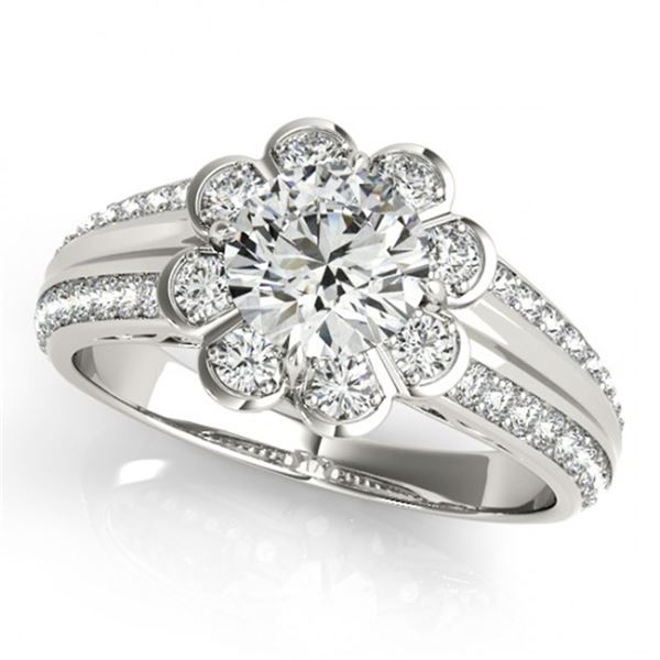 Natural 0.85 ctw Diamond Solitaire Halo Ring 14k White Gold