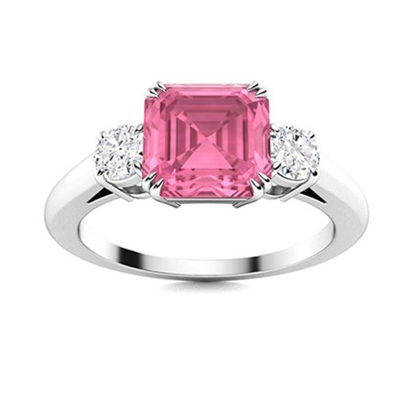 Natural 1.69 CTW Tourmaline & Diamond Engagement Ring 14K White Gold