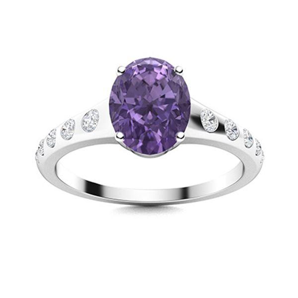 Natural 1.72 CTW Iolite & Diamond Engagement Ring 18K White Gold