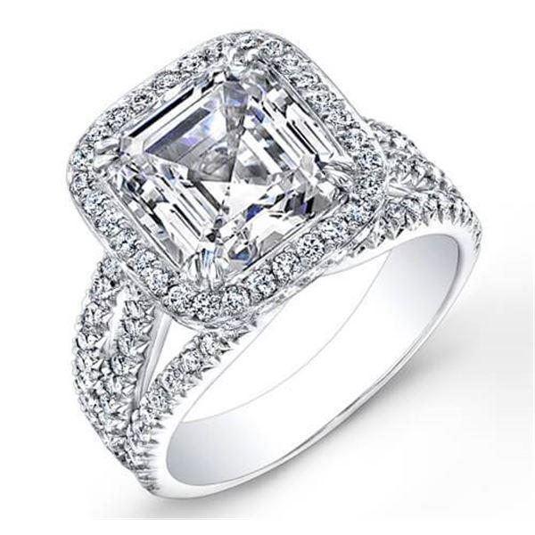 Natural 3.22 CTW Halo Asscher Cut Diamond Engagement Ring 18KT White Gold
