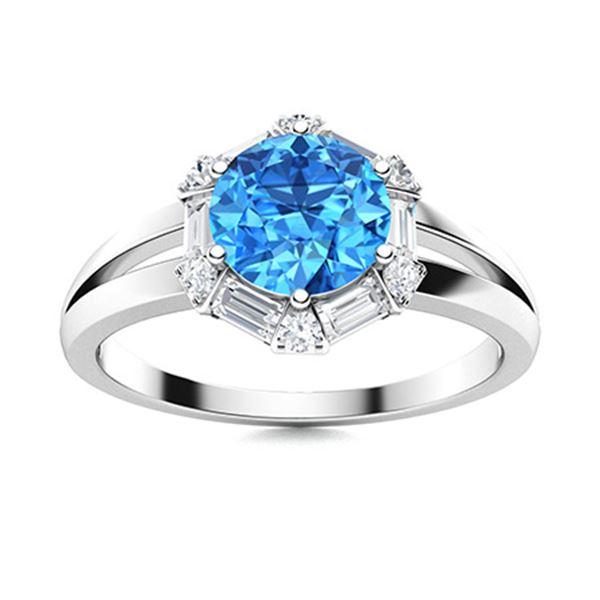 Natural 1.35 CTW Topaz & Diamond Engagement Ring 14K White Gold