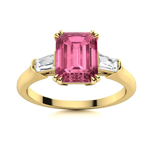 Natural 4.19 CTW Tourmaline & Diamond Engagement Ring 18K Yellow Gold