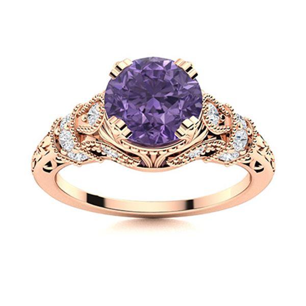 Natural 1.06 CTW Iolite & Diamond Engagement Ring 18K Rose Gold