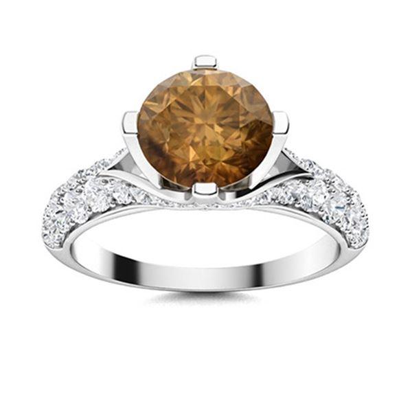 Natural 2.68 CTW Brown & White Diamond Engagement Ring 14K White Gold