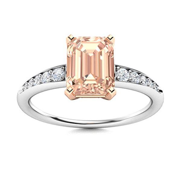 Natural 0.66 CTW Morganite & Diamond Engagement Ring 14K White Gold