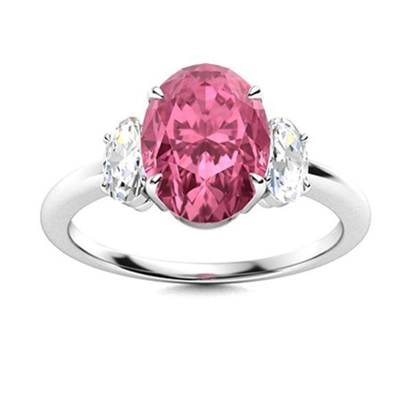 Natural 5.13 CTW Tourmaline & Diamond Engagement Ring 14K White Gold