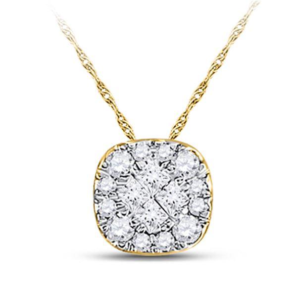 14kt Yellow Gold Womens Princess Diamond Square Pendant 1/4 Cttw