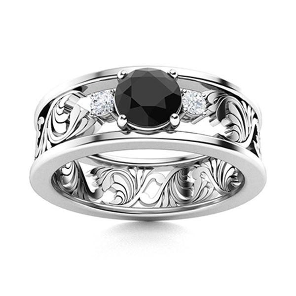 Natural 0.52 CTW Black Diamond Solitaire Ring 14K White Gold
