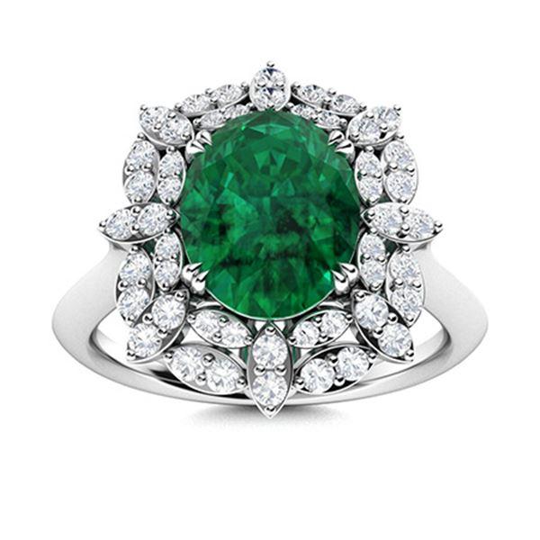 Natural 2.08 CTW Emerald & Diamond Engagement Ring 14K White Gold