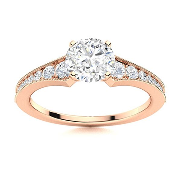 Natural 1.05 CTW Diamond Solitaire Ring 14K Rose Gold