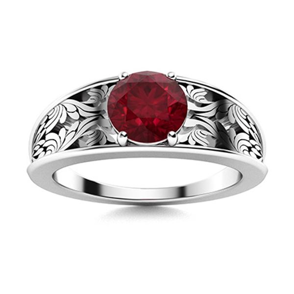 Natural 0.82 CTW Ruby Solitaire Ring 18K White Gold