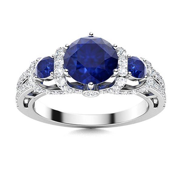 Natural 2.17 CTW Sapphire & Diamond Engagement Ring 18K White Gold