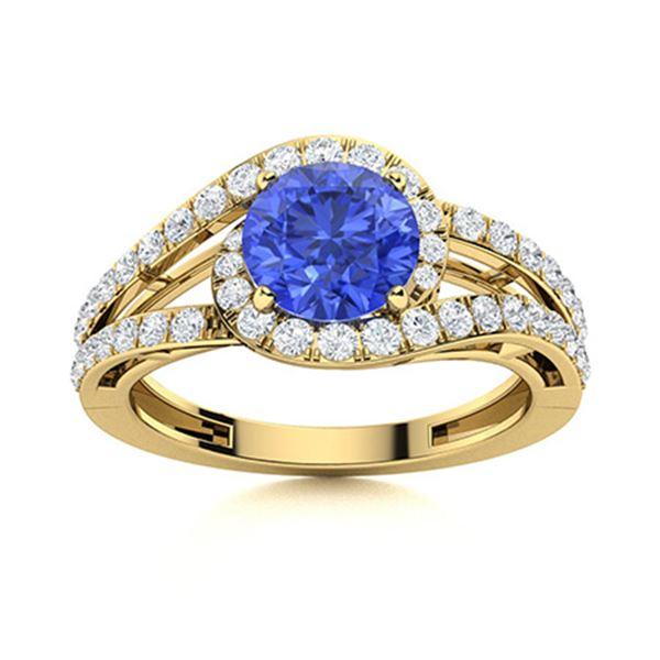 Natural 1.56 CTW Ceylon Sapphire & Diamond Engagement Ring 14K Yellow Gold