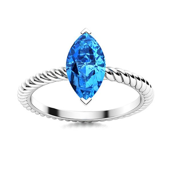 Natural 0.30 CTW Topaz Solitaire Ring 14K White Gold