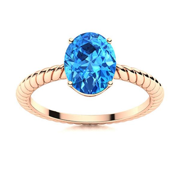 Natural 1.43 CTW Topaz Solitaire Ring 18K Rose Gold