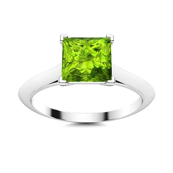 Natural 1.58 CTW Peridot Solitaire Ring 14K White Gold