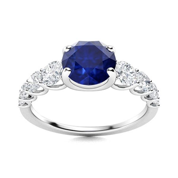 Natural 2.03 CTW Sapphire & Diamond Engagement Ring 14K White Gold