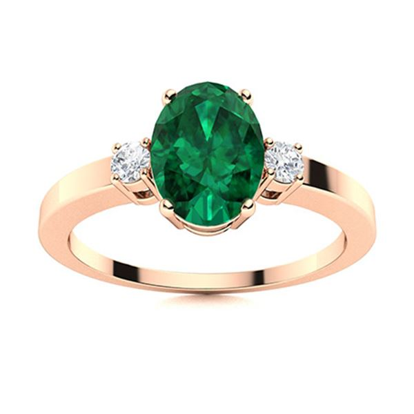 Natural 0.97 CTW Emerald & Diamond Engagement Ring 18K Rose Gold