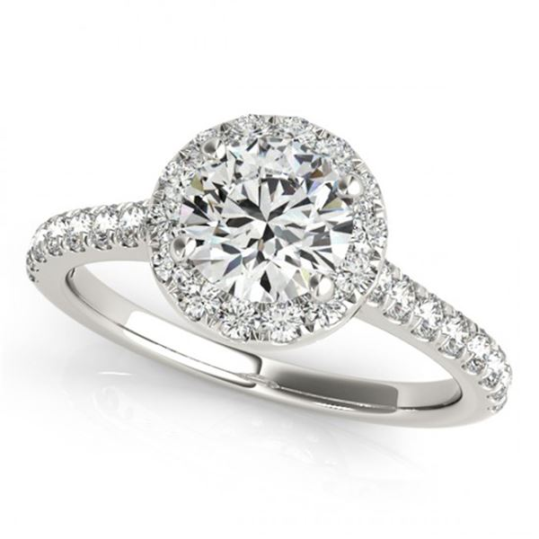 Natural 1.7 ctw Diamond Solitaire Halo Ring 14k White Gold
