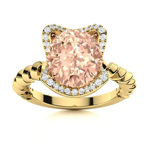 Natural 1.76 CTW Morganite & Diamond Engagement Ring 18K Yellow Gold