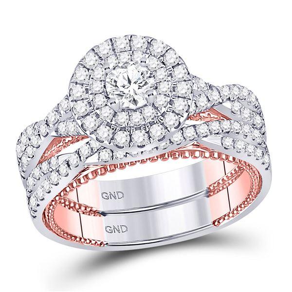 14kt Two-tone Gold Round Diamond Bridal Wedding Ring Band Set 1-3/8 Cttw