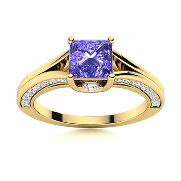 Natural 1.38 CTW Tanzanite & Diamond Engagement Ring 14K Yellow Gold