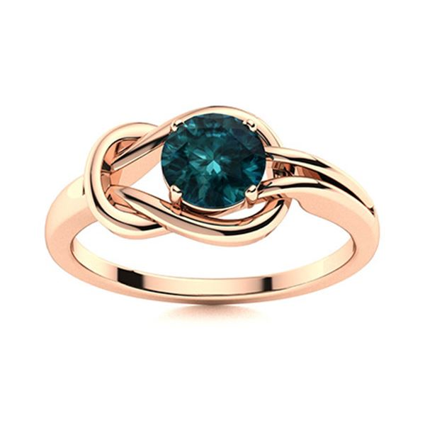Natural 0.61 CTW Blue Diamond Solitaire Ring 14K Rose Gold