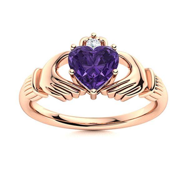Natural 0.68 CTW Amethyst & Diamond Engagement Ring 14K Rose Gold