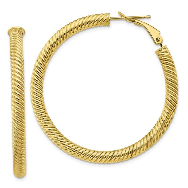 10k Yellow Gold Twisted Round Omega Back Hoop Earrings - 4x35 mm