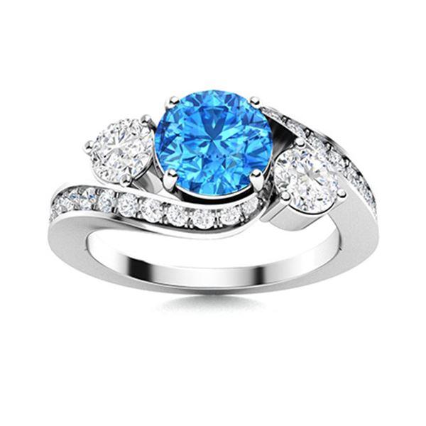 Natural 1.41 CTW Topaz & Diamond Engagement Ring 14K White Gold
