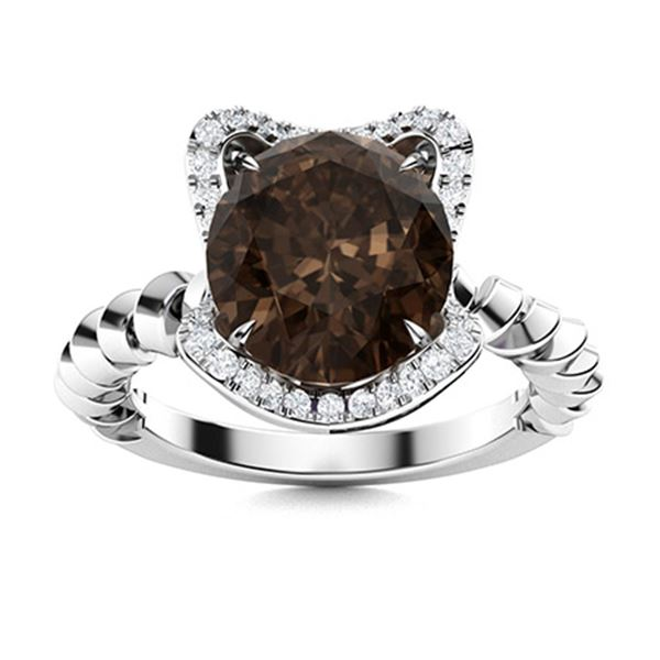 Natural 2.41 CTW Smoky Quartz & Diamond Engagement Ring 14K White Gold