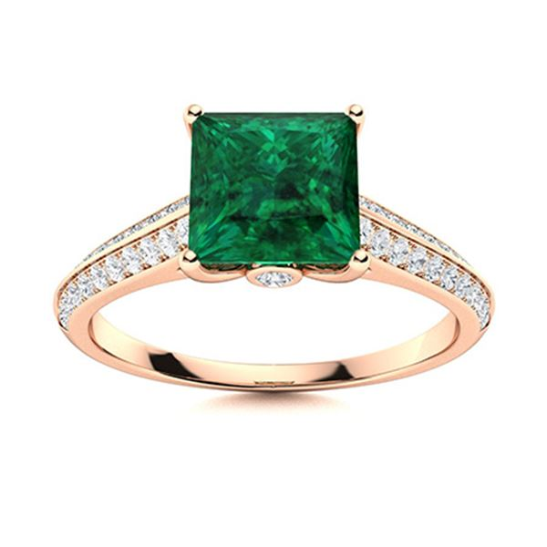 Natural 1.27 CTW Emerald & Diamond Engagement Ring 18K Rose Gold