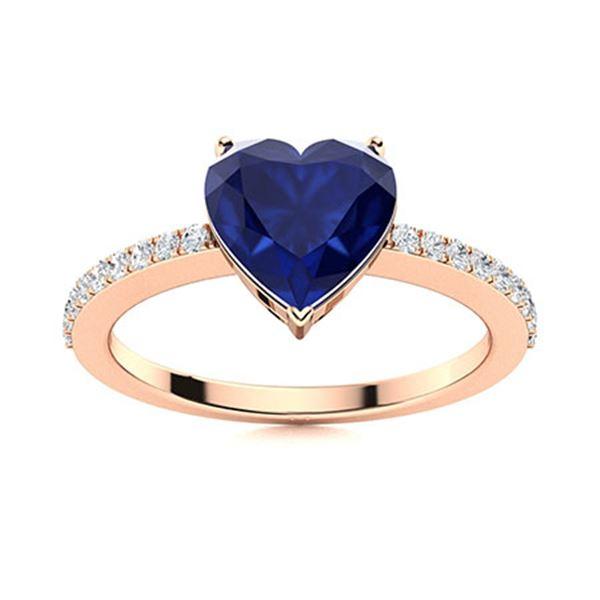 Natural 0.89 CTW Sapphire & Diamond Engagement Ring 18K Rose Gold