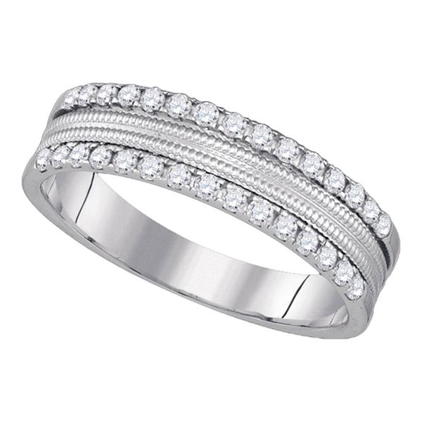 14kt White Gold Womens Round Diamond Double Row Band Ring 1/3 Cttw