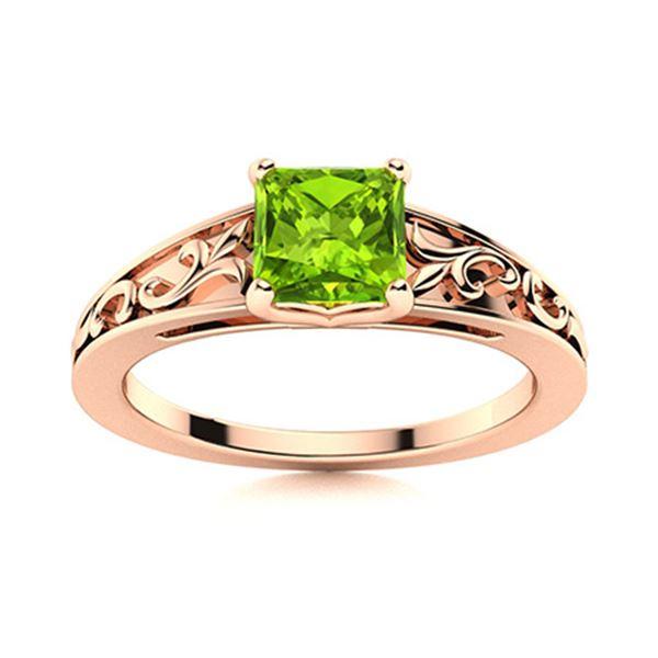Natural 0.77 CTW Peridot Solitaire Ring 18K Rose Gold