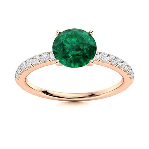 Natural 2.47 CTW Emerald & Diamond Engagement Ring 18K Rose Gold