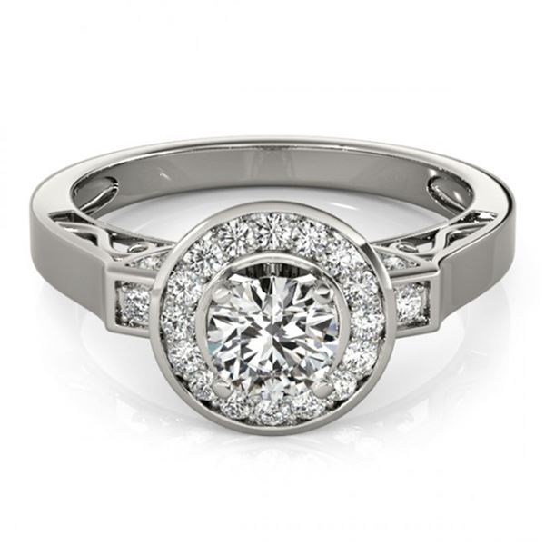 Natural 1.75 ctw Diamond Solitaire Halo Ring 14k White Gold