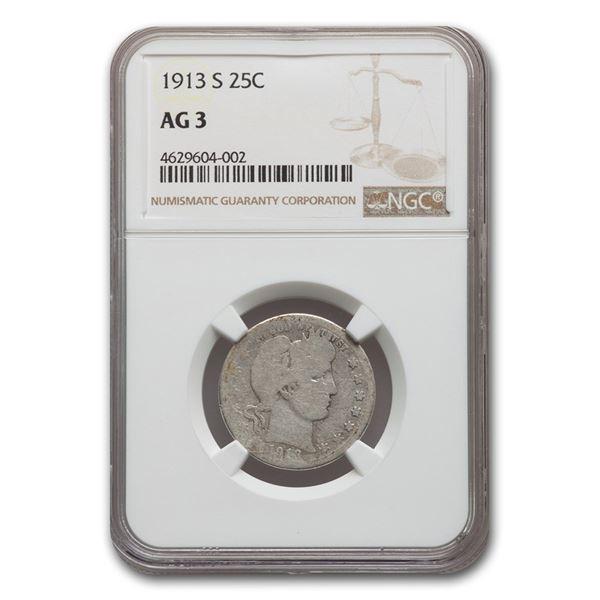 1913-S Barber Quarter AG-03 NGC