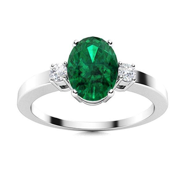 Natural 0.96 CTW Emerald & Diamond Engagement Ring 14K White Gold