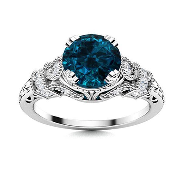 Natural 1.05 CTW Topaz & Diamond Engagement Ring 14K White Gold