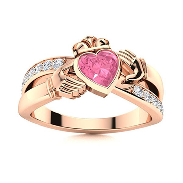 Natural 0.67 CTW Tourmaline & Diamond Engagement Ring 14K Rose Gold