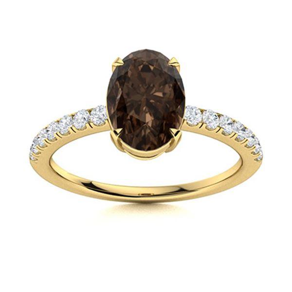 Natural 1.29 CTW Smoky Quartz & Diamond Engagement Ring 14K Yellow Gold