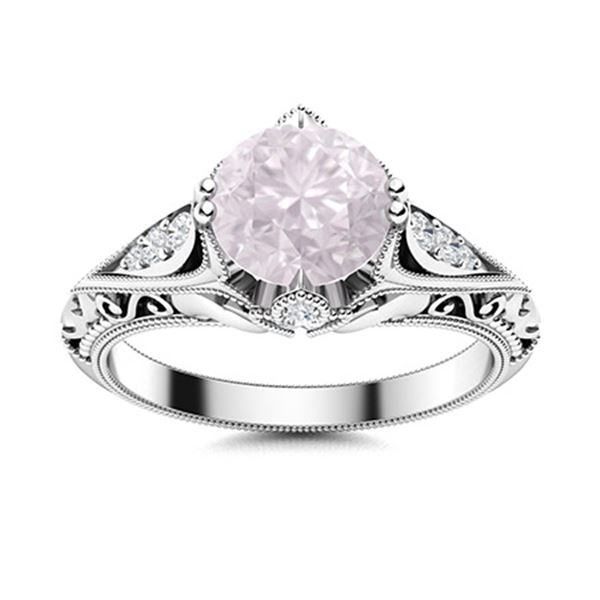 Natural 1.84 CTW Rose Quartz & Diamond Engagement Ring 18K White Gold