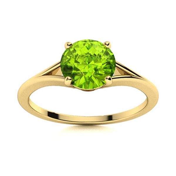 Natural 0.72 CTW Peridot Solitaire Ring 18K Yellow Gold