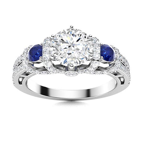 Natural 1.87 CTW Diamond & Sapphire Engagement Ring 18K White Gold
