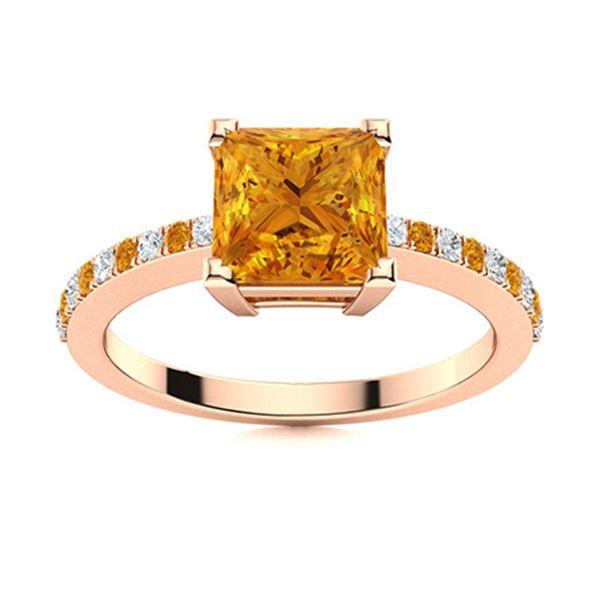 Natural 0.90 CTW Citrine & Diamond  Engagement Ring 18K Rose Gold