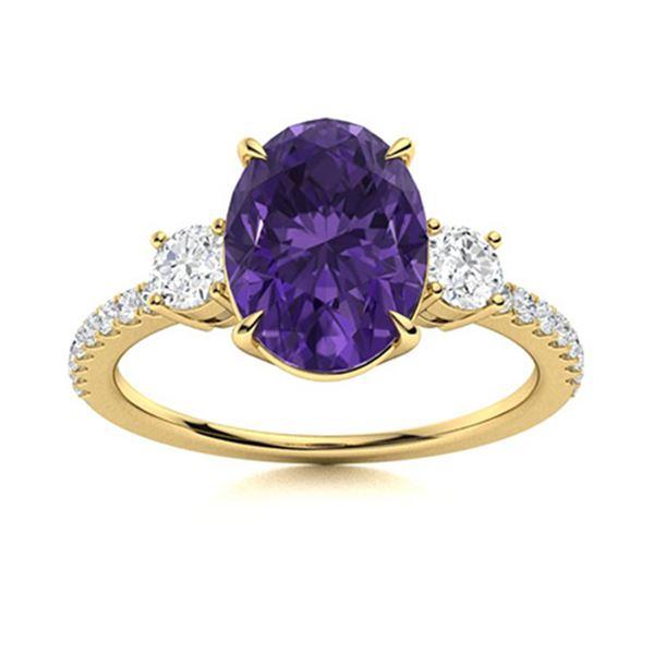 Natural 3.42 CTW Amethyst & Diamond Engagement Ring 14K Yellow Gold
