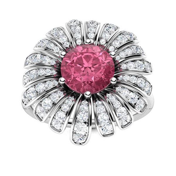 Natural 1.71 CTW Tourmaline & Diamond Engagement Ring 18K White Gold