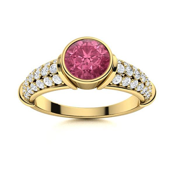 Natural 1.27 CTW Tourmaline & Diamond Engagement Ring 18K Yellow Gold