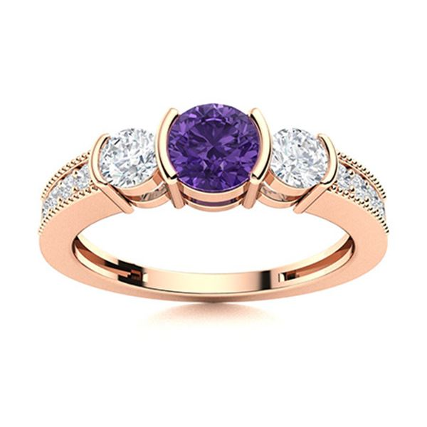 Natural 0.81 CTW Amethyst & Diamond Engagement Ring 14K Rose Gold